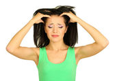 Young woman have headache on grey background — Stock Photo
