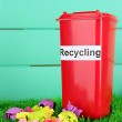Recycling bin with papers on grass on light blue background — Stock Photo #26321161