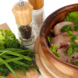 Stock Photo: Chicken meat in wooden bowl, herbs, spices close-up