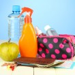 Travelling items on color background — Stock Photo
