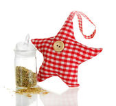 Soft toy shape of star with fragrant herbs isolated on white — Stock Photo