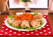Stuffed cabbage rolls on table at home — Stock Photo