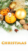 Christmas composition with oranges and fir tree — Stok fotoğraf