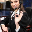 Stock Photo: Call center operator at wor