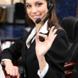 Call center operator at wor — Stock Photo