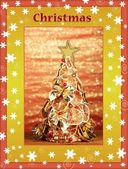 Schöne weihnachtsbaum von trockenen zitronen mit dekor — Stockfoto