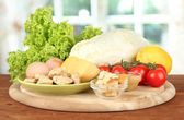 Ingredients for Caesar salad on bright background — Photo