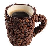 Fincan kahvenin üzerine beyaz izole — Stok fotoğraf
