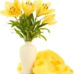 Beautiful orange lilies in vase, isolated on white — Stock Photo #26386185