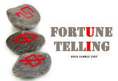 Fortune telling with symbols on stones isolated on white — Stock Photo