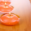 Stock Photo: Beautiful candles in water close-up
