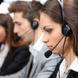Call center operators at wor — Stock fotografie