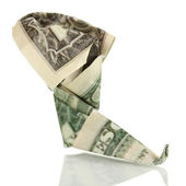 Dollar folded into boots isolated on white — Stock Photo