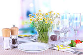 Table setting with chamomiles on checkered tablecloth on window background — Stock Photo
