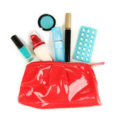 Hormonal pills in women's make-up bag isolated on white — Stock Photo