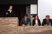 Business woman is making a speech at conference room — Stock Photo