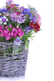 Beautiful bouquet in basket isolated on white — Stock Photo