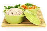 Shredded boiled chicken in green pan close up — Stock Photo