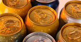 Metal tins close-up — Stock Photo