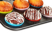 Tasty muffin cakes in baking tray isolated on white — Stock Photo