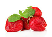 Ripe sweet strawberries and mint, isolated on white — Stock Photo