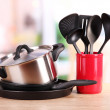 Kitchen tools on table in kitchen — Stock Photo #26545561