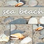 Sea stones on sand background — Stock Photo