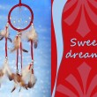 Stock Photo: Beautiful dream catcher on blue background with lights