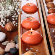 Stock Photo: Beautiful candles in water on wooden table close-up