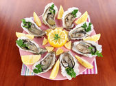 Oysters on wooden background — Stock Photo