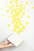 Papier gele vlinders vliegen uit boek — Stockfoto