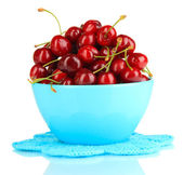 Ripe red cherry berries in bowl isolated on white — Stock Photo