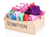 Donation box isolated on white — Stock Photo