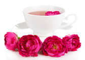 Rose tea isolated on white — Stock Photo