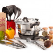 Composition of kitchen tools,spices and vegetables isolated on white — Stock Photo