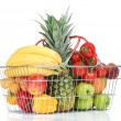 Assortment of fresh fruits and vegetables in metal basket, isolated on white — Stock Photo