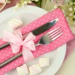 Stock Photo: Table setting in white and pink tones on color wooden background