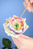 Female hands holding white flower and paint it with colors, on color background — Stock Photo