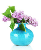 Beautiful lilac flowers in vase, isolated on white — Stock Photo