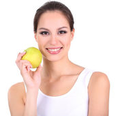 Smiling woman with apple isolated on white — Stock Photo