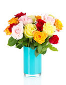 Beautiful bouquet of roses in vase isolated on white — Stock Photo