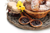Taste croissants in basket and jam isolated on whit — Stock Photo