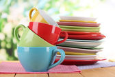 Mountains colorful dishes on napkins on nature background — Stock Photo