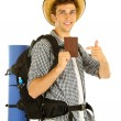 Young hiker man tourist holding passport, isolated on white — Stock Photo #26685997