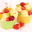 Delicious  ice cream with fruits and berries in bowl on wooden table — Стоковая фотография