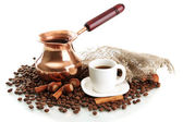 Cup and pot of coffee and coffee beans, isolated on white — Stock Photo