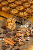 Chocolate cookies on the baking close up — Stock Photo