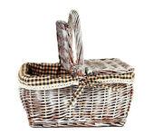 Picknick-korb, isoliert auf weiss — Stockfoto