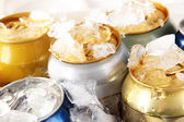 Metal tin on with ice close-up — Stock Photo