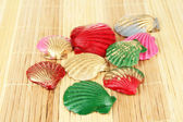 Colorful seashells on bamboo mat background — Stock Photo